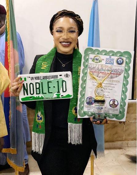 Tonto Dikeh disgraced again as United Nations tag her ambassadorial award as a fake (Full Details)