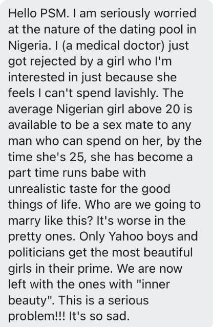 Man laments after lady turned down his relationship proposal says he can't spend lavishly on her