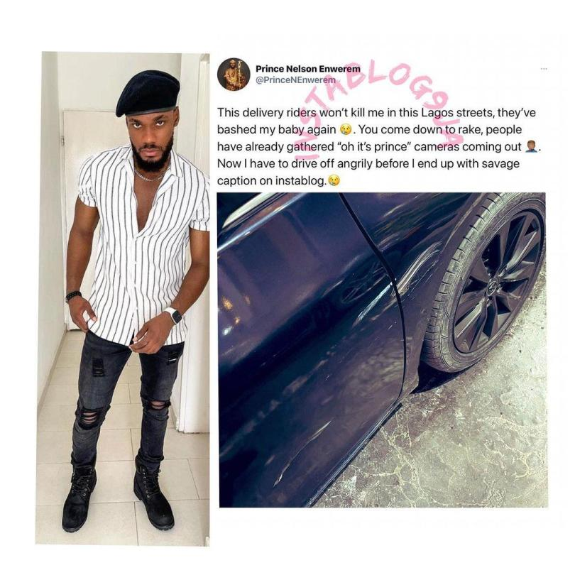BBNaija's Prince voice out his frustrations as delivery riders bash his car