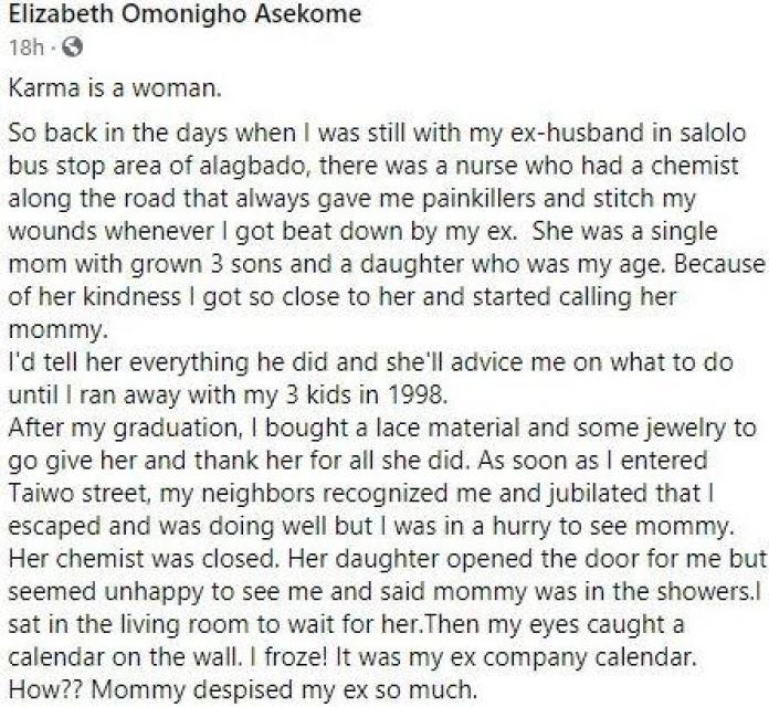 Lady narrates how woman she took as a mother got visited by karma after marrying the abusive ex-husband she advised her to leave