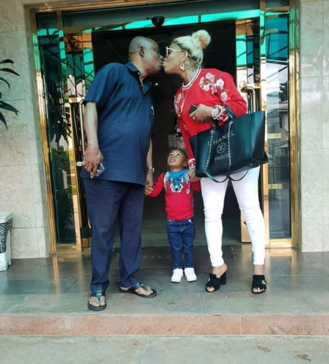 tonto dikeh kissing her father