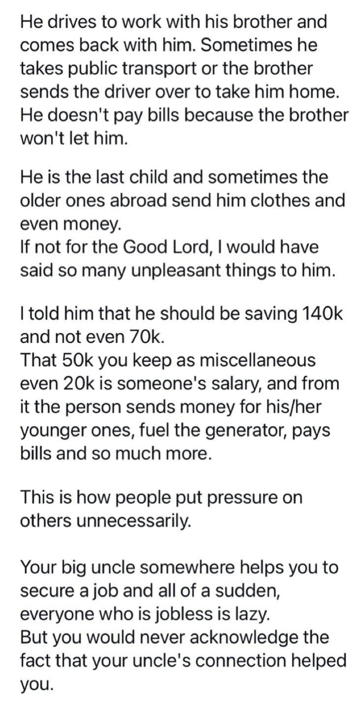 Man narrates encounter with boy who said any salary earner that can't save up to 20k monthly is extravagant