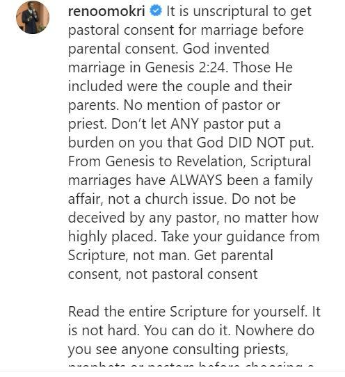 """""""Marriage is a family affair, not a church issue; don't let any pastor pressure you"""" - Reno Omokri"""