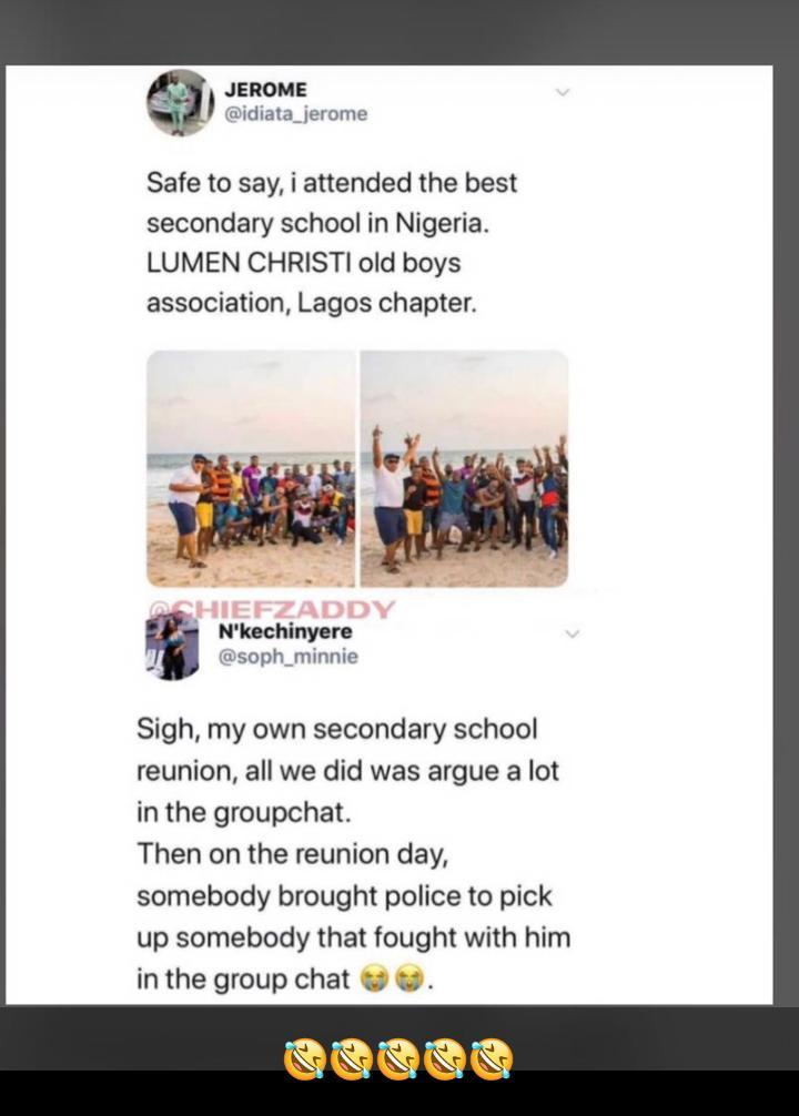 Lady narrates how her classmate in secondary school brought policemen to arrest fellow classmate on their reunion day