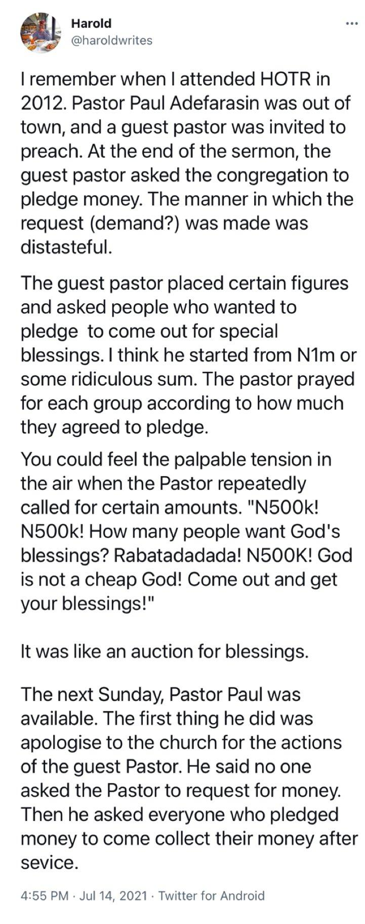 Man narrates experience with pastor who mandated members to sow a seed with a huge sum of money