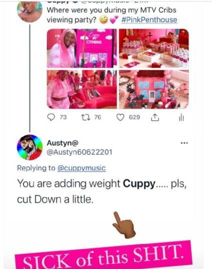 DJ Cuppy weight