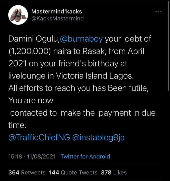 Burna Boy called out over alleged debt of N1.2M since April