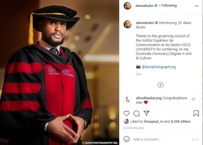 Alex Ekubo doctorate degree