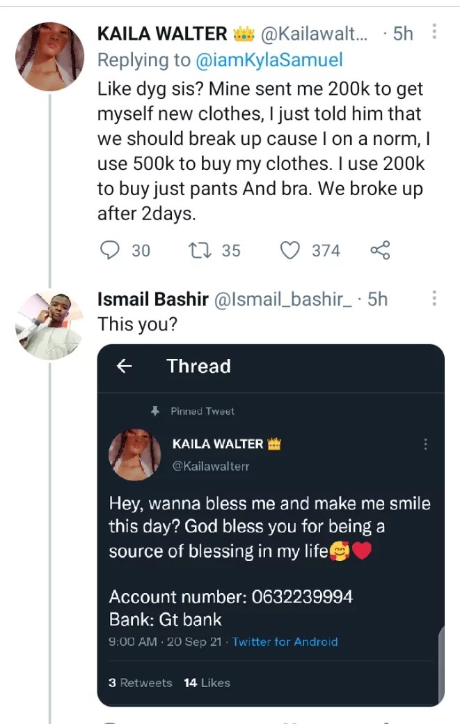 Man digs out tweet of lady begging for money on Twitter, after she bragged that she uses N500k to buy clothes