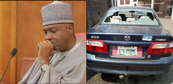 Thugs invade Senate president, Saraki's residence, destroy over 50 cars and more (Photos)
