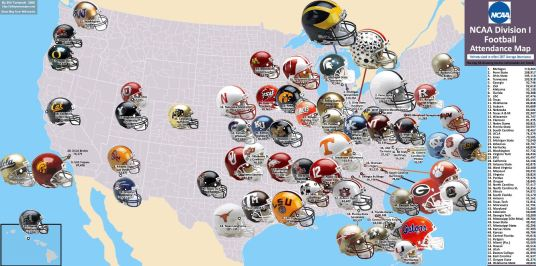 NCAA football ranking map