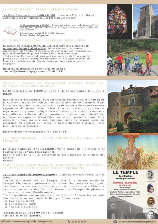 Programme des « Journées Européennes du Patrimoine » au Pays de la Châtaigneraie pour le 18 et le 19 septembre 2021.