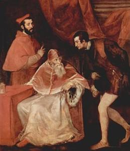 Paolo III e i nipoti Alessandro e Ottavio, Tiziano