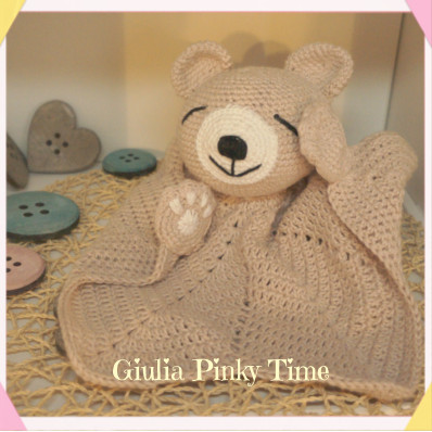 orsetto doudou all'uncinetto di Giulia Pinky Time