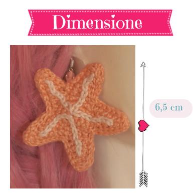 Dimensione orecchini stella marina 6,5 cm / size of the sea star earrings 6,5 cm