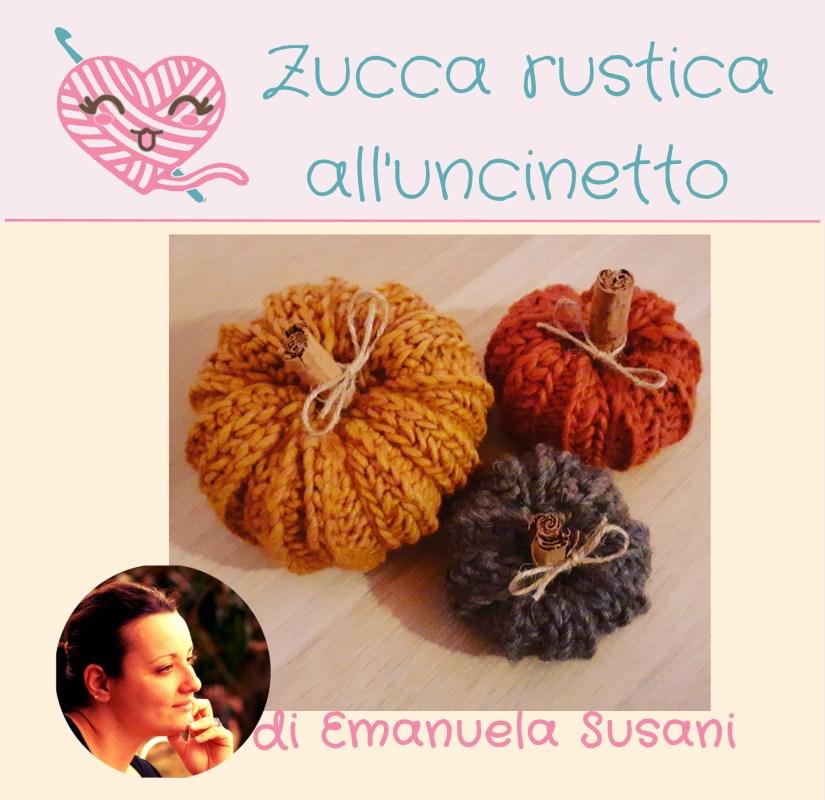 Salva sulla tua bacheca Pinterest o condividi la zucca rustica all'uncinetto di Emanuela Susani usando questa foto.