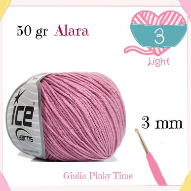 Alara ice yarns, used to make the 3D puffy heart.