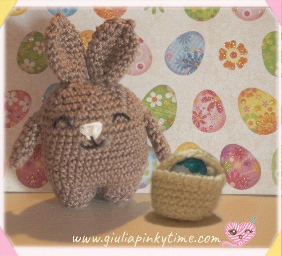 bunny with miniature crochet basket.