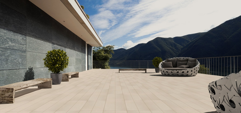 Le doghe  Piastrelle effetto legno per pavimentazione esterna