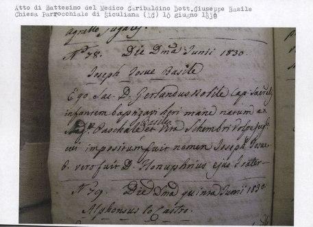 Certificato di battesimo del garibaldino