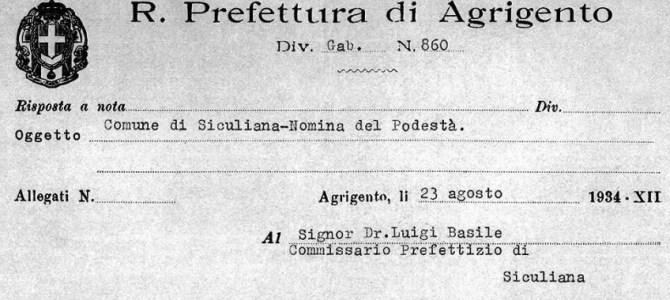 Luigi Basile, nomina a Podestà
