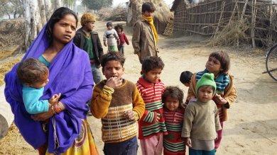 Familie von Wanderarbeitern aus Bihar