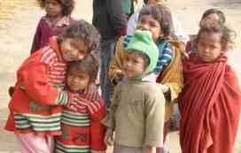 Illiterate children of labourers from Bihar.