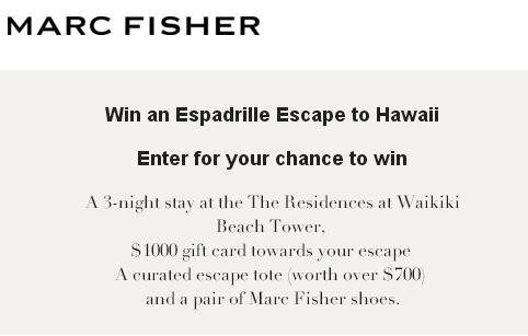 Marc Fisher Espadrille Escape Kit Sweepstakes – Chance to Win A Trip To Honolulu