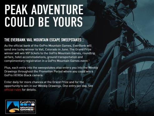 EverBank Vail Mountain Escape Sweepstakes – Chance to Win A Trip, and a GoPro HERO6 Session Camera