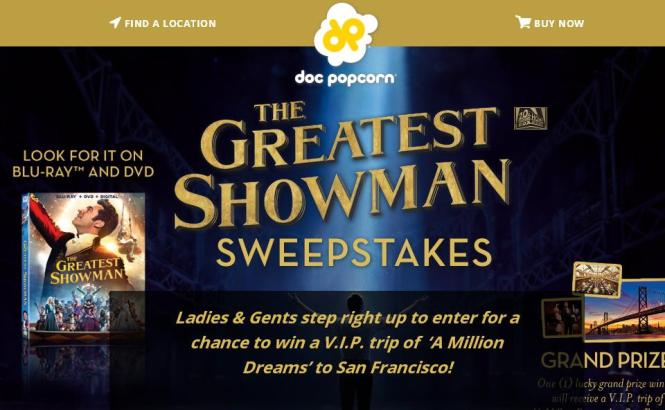 Doc Popcorn The Greatest Showman Sweepstakes – Chance to Win a Trip to San Fransisco