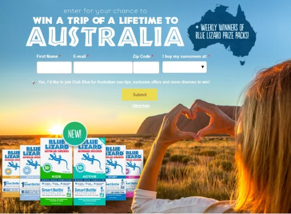 Blue Lizard Sunscreen Family Trip to Australia Sweepstakes - Win A Trip