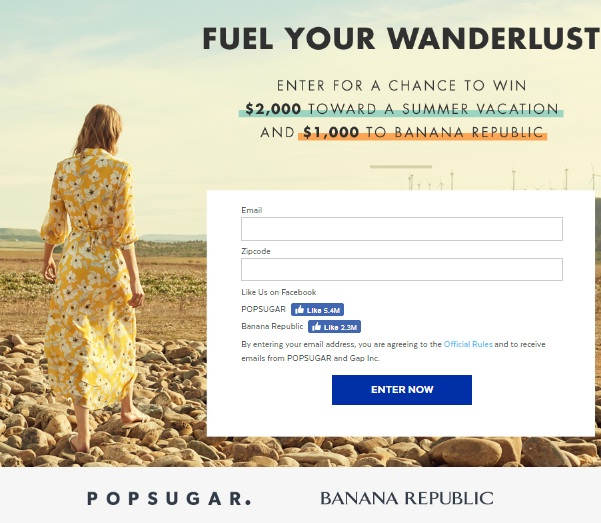 Fuel Your Wanderlust Sweepstakes - Chance To Win Visa Gift Card
