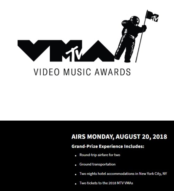 2018 MTV Video Music Awards Sweepstakes - Win A Trip To New York, NY