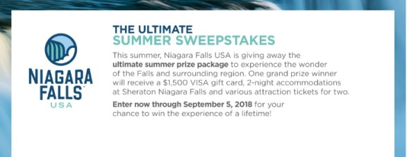 Niagara Falls USA Ultimate Summer Sweepstakes