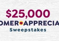 $25,000 Customer Appreciation Sweepstakes