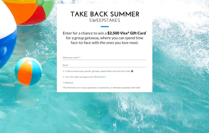 Evite Take Back Summer Sweepstakes