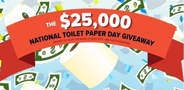25,000 Dollars National Toilet Paper Day Giveaway