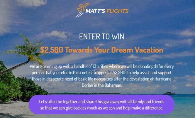 Matt Flights Dream Vacation Giveaway