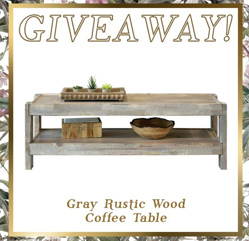 Woodwaves Rustic Gray Wood Coffee Table Giveaway