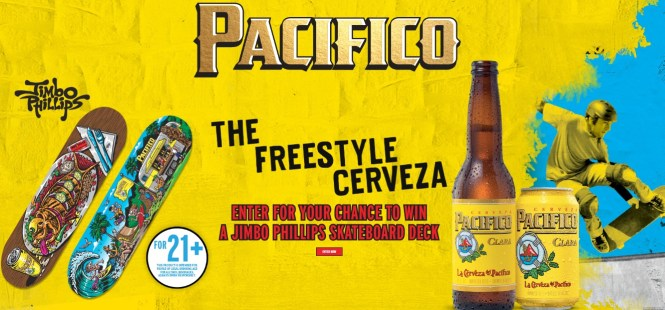 Crown Imports Pacifico Jimbo Phillips Skateboard Deck Sweepstakes