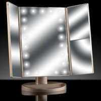 Ad042 Asani Tri-Fold Lighted Magnification Makeup Mirror W ...