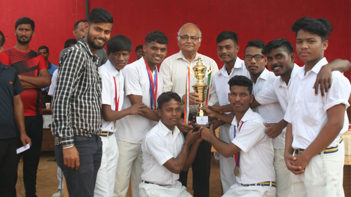 J.K. Sinha with students