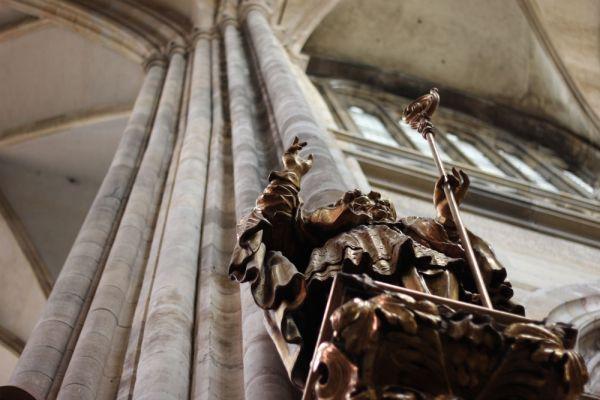 Statue inside church in Prague.