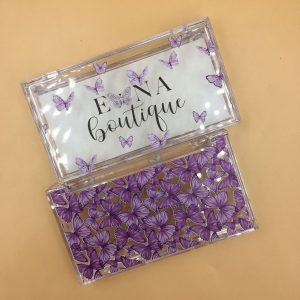 purple butterflies eyelash packaging wholesale