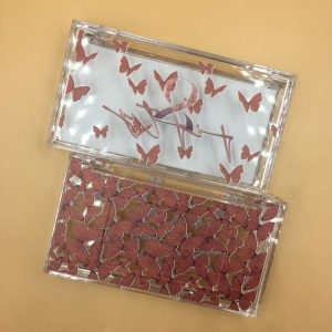 custom red butterflies lash box