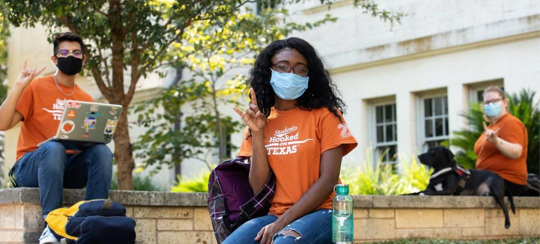 UT Students wearing masks on campus