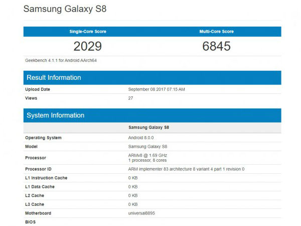Samsung Galaxy S8 visits Geekbench carrying Android 8.0 Oreo