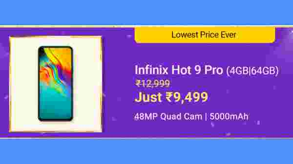 Infinix Hot 9 Pro (MRP: Rs. 12,999, After Discount Price. Rs. 9,499)