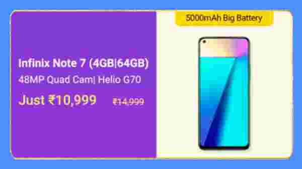 Infinix Note 7 (MRP: Rs. 14,999, Discount Price: Rs. 10,999)