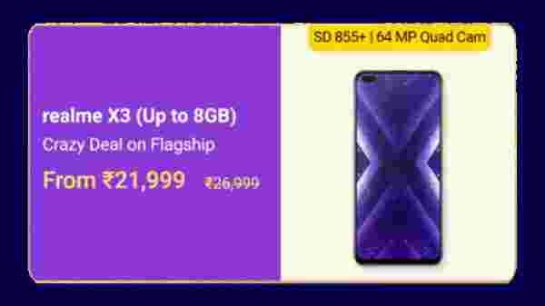 Realme X3 (MRP: Rs. 26,999 , After Discount Price: Rs. 21,999 )